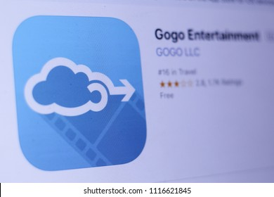 JEMBER, EAST JAVA, INDONESIA, JUNE 19, 2018. Gogo Entertainment app in play store. close-up on the laptop screen.