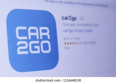 JEMBER, EAST JAVA, INDONESIA, JUNE 19, 2018. car2go app in play store. close-up on the laptop screen.