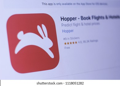 JEMBER, EAST JAVA, INDONESIA, JUNE 19, 2018. Hopper - Book Flights & Hotels app in play store. close-up on the laptop screen.
