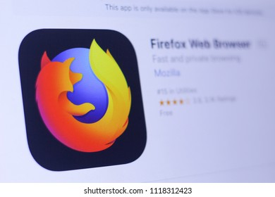 JEMBER, EAST JAVA, INDONESIA, JUNE 22, 2018. Firefox Web Browser app in play store. close-up on the laptop screen.
