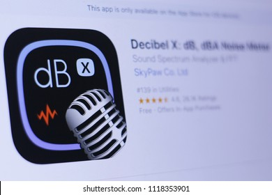 JEMBER, EAST JAVA, INDONESIA, JUNE 22, 2018. Decibel X dB, dBA Noise Meter app in play store. close-up on the laptop screen.