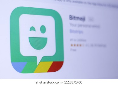 JEMBER, EAST JAVA, INDONESIA, JUNE 22, 2018. Bitmoji app in play store. close-up on the laptop screen.