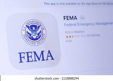 JEMBER, EAST JAVA, INDONESIA, JUNE 23, 2018. FEMA app in App Store. Close-up on the laptop screen.