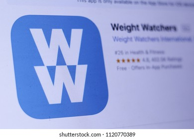 JEMBER, EAST JAVA, INDONESIA, JUNE 25, 2018. Weight Watchers app in play store. close-up on the laptop screen.