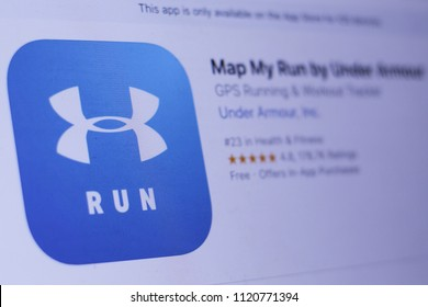 JEMBER, EAST JAVA, INDONESIA, JUNE 25, 2018. Map My Run by Under Armour app in play store. close-up on the laptop screen.