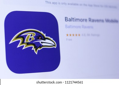 JEMBER, EAST JAVA, INDONESIA, JUNE 26, 2018. Baltimore Ravens Mobile app in play store. close-up on the laptop screen.