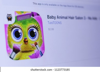 JEMBER, EAST JAVA, INDONESIA, JUNE 29, 2018. Baby Animal Hair Salon 3 - No Ads app in play store. close-up on the laptop screen.