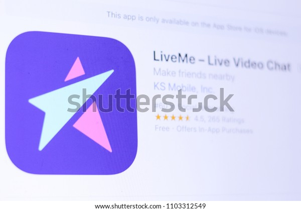 JEMBER, EAST JAVA, INDONESIA, JUNE 01, 2018. LiveMe – Live Video Chat app in App Store. Close-up on the laptop screen.