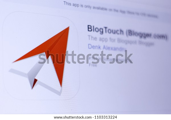 JEMBER, EAST JAVA, INDONESIA, JUNE 01, 2018. BlogTouch (Blogger.com) app in App Store. Close-up on the laptop screen.
