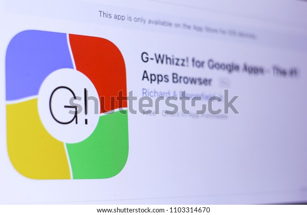 JEMBER, EAST JAVA, INDONESIA, JUNE 01, 2018. G-Whizz! for Google Apps - The #1 Apps Browser app in App Store. Close-up on the laptop screen.