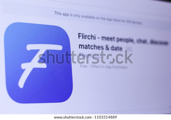 JEMBER, EAST JAVA, INDONESIA, JUNE 01, 2018. Flirchi - meet people, chat, discover matches & date app in App Store. Close-up on the laptop screen.