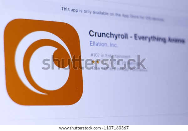 JEMBER, EAST JAVA, INDONESIA, JUNE 06, 2018. Crunchyroll - Everything Anime app in play store. close-up on the laptop screen.