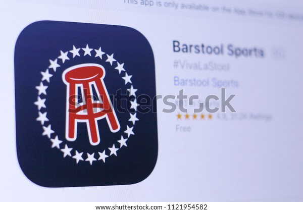 JEMBER, EAST JAVA, INDONESIA, JUNE 27, 2018. Barstool Sports app in play store. close-up on the laptop screen.