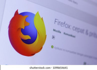 JEMBER, EAST JAVA, INDONESIA, MAY 25, 2018. Mozilla Firefox Browser app in play store. close-up on the laptop screen.