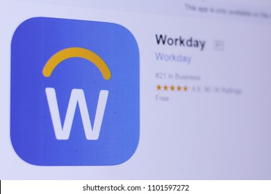 JEMBER, EAST JAVA, INDONESIA, MAY 30, 2018. Workday app in App Store. Close-up on the laptop screen.