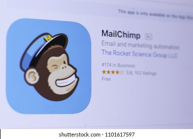 JEMBER, EAST JAVA, INDONESIA, MAY 30, 2018. MailChimp app in App Store. Close-up on the laptop screen.