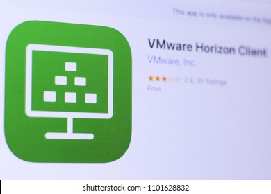 JEMBER, EAST JAVA, INDONESIA, MAY 30, 2018. VMware Horizon Client app in App Store. Close-up on the laptop screen.