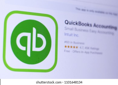 JEMBER, EAST JAVA, INDONESIA, MAY 30, 2018. QuickBooks Accounting app in App Store. Close-up on the laptop screen.