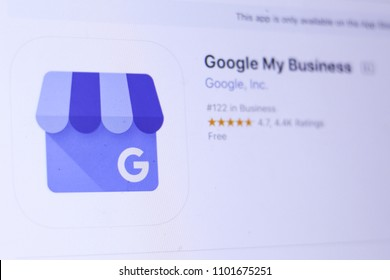 JEMBER, EAST JAVA, INDONESIA, MAY 30, 2018. Google My Business app in App Store. Close-up on the laptop screen.