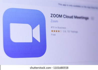 JEMBER, EAST JAVA, INDONESIA, MAY 30, 2018. ZOOM Cloud Meetings app in App Store. Close-up on the laptop screen.