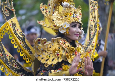Jember, Indonesia - August 13, 2017 : Participants in the Jember Fashion carnival (JFC-16), has been listed as one of the top local festivities in Indonesia and 3th biggest carnival in the world