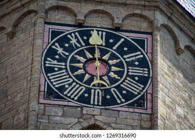 "Jena city, Thuringia, Germany- detail of clock church ""Michaelis"" in old city, near town hall"