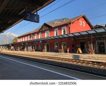 JENBACH, AUSTRIA - JULY 2018 : Jenbach Bahnhof railway station building during summer in Jenbach, Austria on July 27, 2018. Jenbach is a municipality in district of Schwaz, Austrian state of Tyrol.