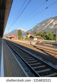 JENBACH, AUSTRIA - JULY 2018 : Jenbach Bahnhof railway station during summer in Jenbach, Austria on July 27, 2018. Jenbach is a municipality in district of Schwaz, Austrian state of Tyrol.