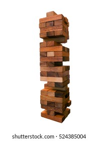 Jenga game or wooden block tower game isolated on white background. Skill development game.