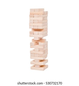 jenga isolated on white background, stack of wooden bricks. blocks wood game