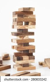 Jenga, Wood blocks stack game on white background.