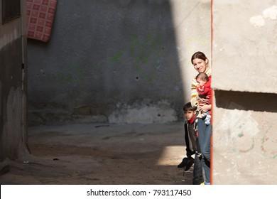 Jenin, Palestine, January 11, 2011: Palestinian family in Jenin refugee camp.