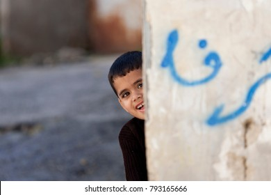 Jenin, Palestine, January 11, 2011: Palestinian boy in Jenin refugee camp