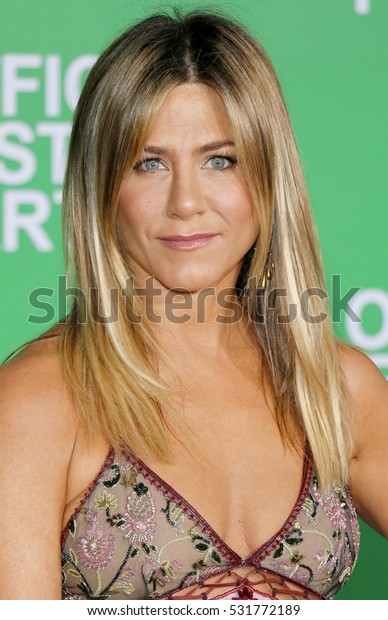 Jennifer Aniston at the Los Angeles premiere of 'Office Christmas Party' held at the Regency Village Theatre in Westwood, USA on December 7, 2016.