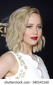 Jennifer Lawrence at the Los Angeles premiere of 'The Hunger Games: Mockingjay - Part 2' held at the Microsoft Theater in Los Angeles, USA on November 16, 2015.