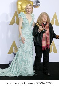 Jenny Beavan and Cate Blanchett at the 88th Annual Academy Awards - Press Room held at the Loews Hotel in Hollywood, USA on February 28, 2016.