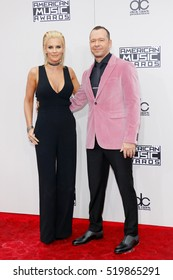 Jenny McCarthy and Donnie Wahlberg at the 2016 American Music Awards held at the Microsoft Theater in Los Angeles, USA on November 20, 2016.