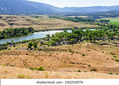 Jensen, USA - July 23, 2019: High angle view of Green River Camground in Dinosaur National Monument Park with green plants and camp sites