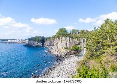 Jeong Bang Waterfall in the ocean, Seoguipo, Jejudo (Jeju Island),  South Korea