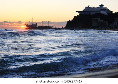 Jeongdongjin Sunrise of the Republic of Korea donghae sea.