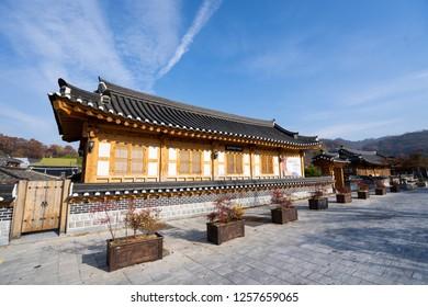 JEONJU, KOREA - NOV, 15, 2018: Beautiful autumn in Jeonju Confucian School in Jeonju Hanok Village.