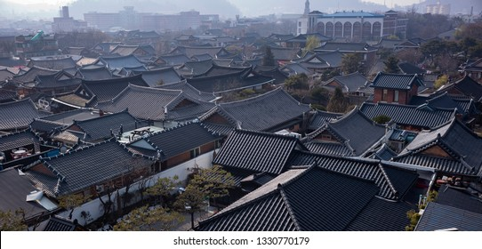 Jeonju, South Korea - January 13 2019: The traditional houses are well preserved in Jeonju Hanok Village