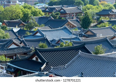 Jeonju, South Korea - September 2018: View of Jeonju Hanok Village, popular tourist attraction with Korean traditional houses designated as an International Slow City in 2010