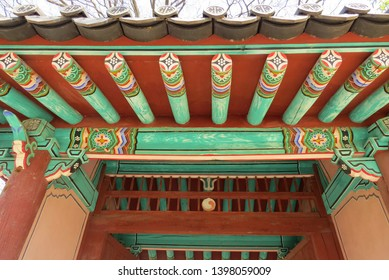 Jeonju, South Korea-April 2nd 2019: The balance structure and delicate carvings dancheong painting attest to the dynasty's authority, Gyeonggijien Shrine at Jeonju, South Korea