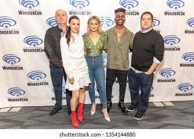"Jeph Loeb, Emma Lahana, Olivia Holt, Aubrey Joseph, Joe Pokaski attend 2019 WonderCon - Marvel's ""Cloak and Dagger"" Press Room, Anaheim, CA on March 29th, 2019"