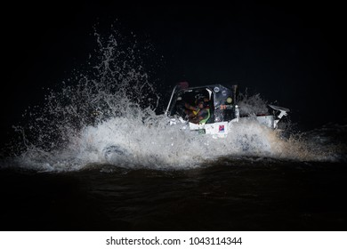 JERAM BULOH, MALAYSIA - NOVEMBER 28, 2017: Rainforest Challenge Global Series Finals. Night race stages in the river.