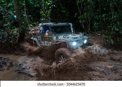 JERAM BULOH, MALAYSIA - NOVEMBER 29, 2017: Rainforest Challenge Global Series Finals. Jungle offroad race deep in the Rainforest. Modified offroad vehicles' race.