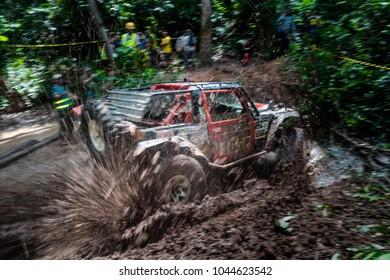 JERAM BULOH, MALAYSIA - NOVEMBER 29, 2017: Rainforest Challenge Global Series Finals. Jungle offroad race deep in the Rainforest. Modified offroad vehicles' race.