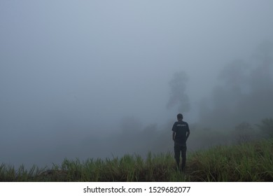 Jerantut, Pahang, Malaysia. September 28, 2019.  Foggy morning in remote village near Malaysia National Park in Pahang with the blur and grain effect due to foggy morning to the main subject .