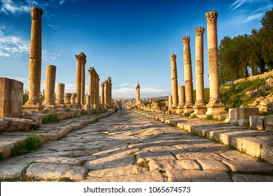 in jerash jordan the antique archeological site classical heritage for tourist